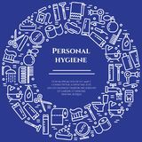 Personal hygiene blue line banner. Set of elements of shower, soap, bathroom, toilet, toothbrush and other cleaning pictograms. Li. Ne out. Simple silhouette Stock Images