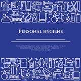 Personal hygiene blue line banner. Set of elements of shower, soap, bathroom, toilet, toothbrush and other cleaning. Pictograms. Line out. Simple silhouette Royalty Free Stock Photo