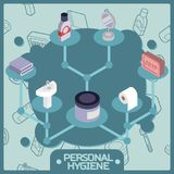 Personal hygiene color isometric concept icons Stock Photo