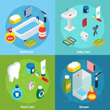 Personal Hygiene concept. Isometric concept set  with bathroom objects and  means of personal hygiene vector illustration Stock Photo