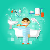 Personal hygiene concept. With person brushing teeth vector illustration Royalty Free Stock Photos