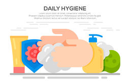 Personal daily hygiene design concept. Set with bathroom items Royalty Free Stock Images