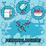 Personal daily hygiene design concept set. With bathroom items isolated vector illustration Stock Image