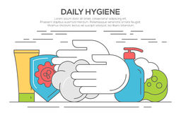 Personal daily hygiene design concept. Set with bathroom items, thin line, flat design Stock Photo