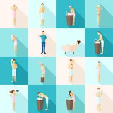 Personal Hygiene Flat Icons Set Stock Images