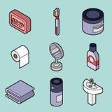 Personal hygiene flat outine isometric set. Vector illustration, EPS 10 Stock Image