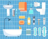 Personal hygiene flat vector icons set Royalty Free Stock Photography