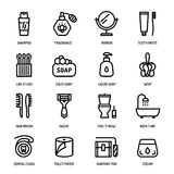 Personal hygiene icons. Bathroom personal hygiene equipment, body care accessories vector linear icons Royalty Free Stock Photos
