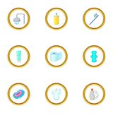 Personal hygiene icons set, cartoon style. Personal hygiene icons set. Cartoon style set of 9 personal hygiene vector icons for web design Royalty Free Stock Photos