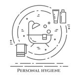 Personal hygiene line banner. Set of elements of shower, soap, bathroom. Poster with cleaning pictograms. Concept for website, car Stock Images