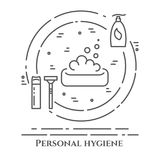 Personal hygiene line banner. Set of elements of shower, soap, bathroom. Poster with cleaning pictograms. Concept for website, car Stock Image