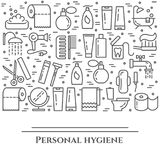 Personal hygiene line banner. Set of elements of shower, soap, bathroom, toilet, toothbrush and other cleaning pictograms. Concept. For website, card stock illustration