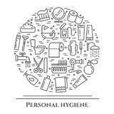 Personal hygiene line banner. Set of elements of shower, soap, bathroom, toilet, toothbrush and other cleaning pictograms. Concept Royalty Free Stock Images