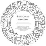 Personal hygiene line banner. Set of elements of shower, soap, bathroom, toilet, toothbrush and other cleaning pictograms. Concept Stock Images