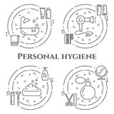 Personal hygiene line banner. Set of elements of shower, soap, bathroom, toilet, toothbrush and other cleaning pictograms. Concept Royalty Free Stock Photography