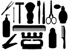 Personal hygiene objects. Isolated silhouettes of personal hygiene related objects Stock Photo