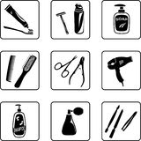 Personal Hygiene Objects. Black and white silhouettes Stock Photography