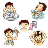 Personal hygiene of the person. Four images of a person involved in personal hygiene Stock Images