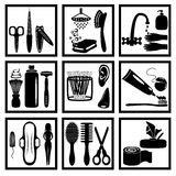 Personal hygiene. Silhouette icons of personal hygiene for everyone Royalty Free Stock Photo