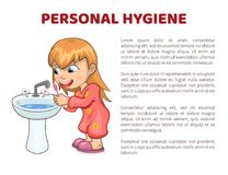 Personal Hygiene Vector Illustration Poster Girl. Personal hygiene vector illustration poster with girl cleaning teeth in water sink, kid woman washes in morning royalty free illustration