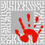 Personal identification by handprints. Computer te Stock Images