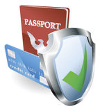 Personal identity security. Personal identity documents with shield icon indicating they are protected, safe, secure or insured Stock Images