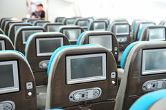 Personal inflight entertainment system in Boeing 787 Dreamliner at Singapore Airshow 2012 Royalty Free Stock Image
