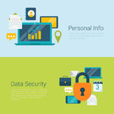 Personal info data security flat vector infographics web banner. Flat style website slider banner personal info data information security concept web Royalty Free Stock Images