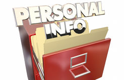 Personal Info File Folder Cabinet Sensitive. Secret Private Data Stock Photo