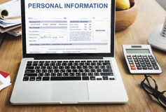 Personal Information Appilcation Identity Private Concept. Laptop Screen Personal Information Appilcation Identity Private Stock Images