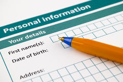 Personal information Stock Images