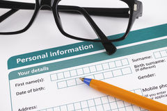 Personal information Royalty Free Stock Images