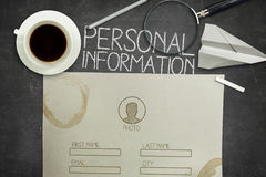 Personal information form concept on black Royalty Free Stock Photography