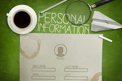 Personal information form concept on green Royalty Free Stock Images