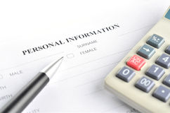 Personal information form stock photos