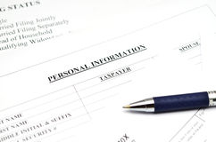 Personal information  form Stock Photo