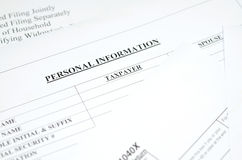 Personal information  form Royalty Free Stock Photos
