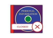 Personal Information - 11. Image of a box with a laser disc. Image to illustrate the restriction of access to personal information Stock Image