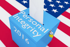 Personal Integrity 2016 concept. 3D illustration of Personal Integrity, 2016 scripts and on ballot box, with US flag as a background Stock Photography