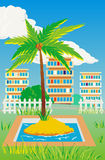 Personal island in a court yard Stock Image