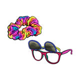Personal items from 90s - sunglasses with removable lenses and scrunchie Royalty Free Stock Photography