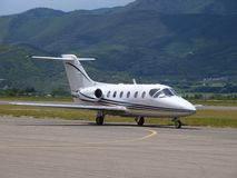 Personal Jet. Arrival at  airport on the taxiway Stock Photo