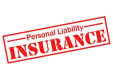 PERSONAL LIABILITY INSURANCE. Red Rubber Stamp over a white background stock illustration