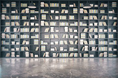 Personal library with big bookcase and concrete floor. Mock up stock illustration