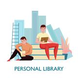 Personal Library Flat Composition. Personal virtual library flat composition with 2 young men sitting on books reading electronic texts vector illustration vector illustration