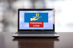 Personal loan concept on a laptop. Screen stock image