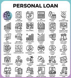 Personal loan icons. Personal loan concept detailed line icons set in modern line icon style for ui, ux, web, app design Royalty Free Stock Photography