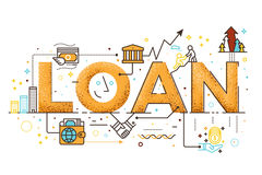 Personal loan illustration. Personal loan, business finance concept word lettering design illustration with line icons Stock Photo