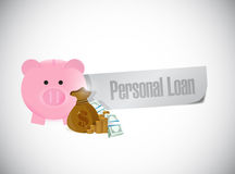 Personal loan paper sign illustration design Royalty Free Stock Photos
