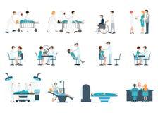 Personal médico y situaciones de los pacientes diversas fijadas Fotografía de archivo